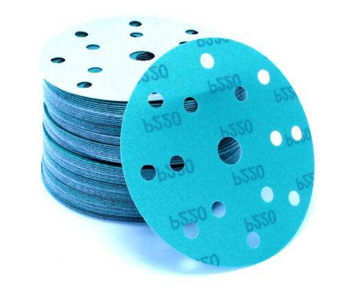 50 Stück Schleif scheiben 150 mm Exzenter 15 Loch Schleif papier P180 grün Klett