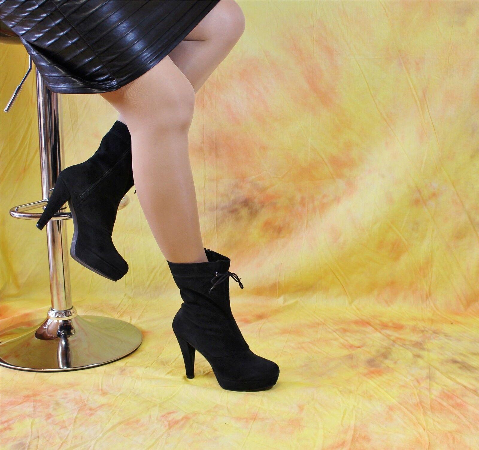 schwarze Wildlederstiefeletten mit Plateau Günstige und gute Schuhe