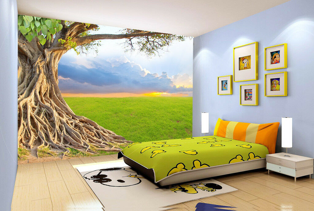 3D Sunset Cloud Tree 7 Wall Paper Murals Wall Print Wall Wallpaper Mural AU Kyra