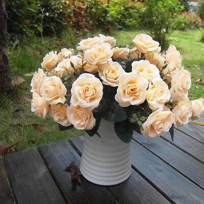 Wedding Party Home Decor Artificial Fake Silk Rose Flower Bridal Bouquet 12 Head