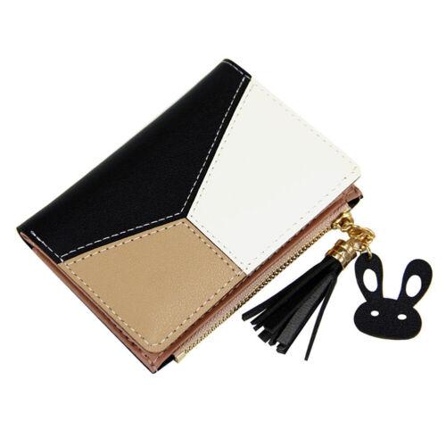 FAUX LEATHER WOMEN COLOR BLOCK TASSEL ZIP SHORT WALLET CARD PURSE CLUTCHES BAG