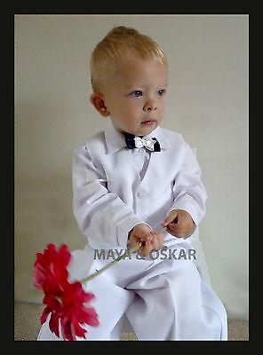 Baby Boy Battesimo Pageboy Party Smart Suit Vestito Panciotto Bianco 3 6 12 24 M- Forte Imballaggio
