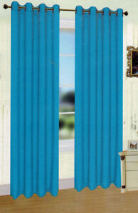2 Panels Solid Turquoise Blue Faux Silk 8 Grommets Window Curtain Drapes 95 Ebay