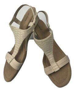 Alfani-Womens-Vacanzaa-Open-Toe-Casual-Slingback-Ivory-Wedge-Sandals-Sz-10