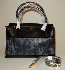 New-H-by-Halston-Two-Tone-Lizard-Embossed-and-Pebble-Leather-Tote-Black