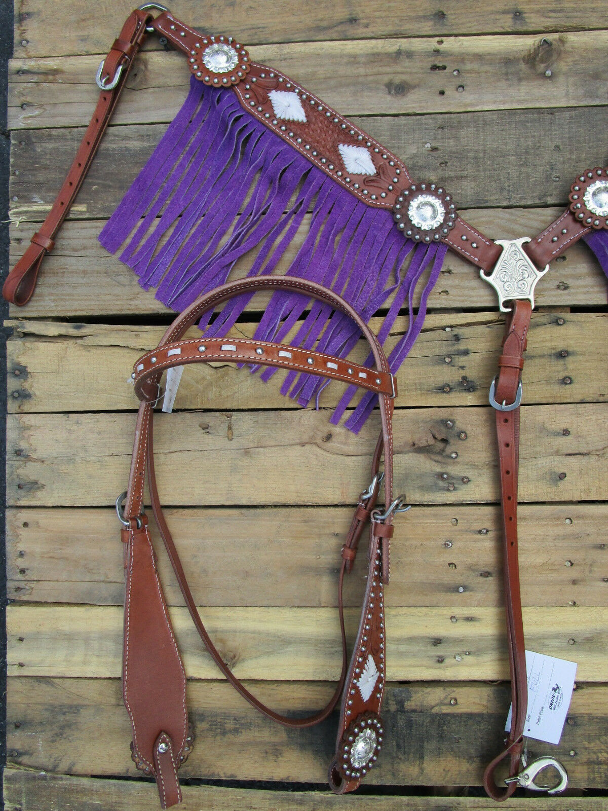 WESTERN HEADSTALL BREASTCOLLAR SET lila FRINGE TRAIL HORSE LEATHER BRIDLE SET