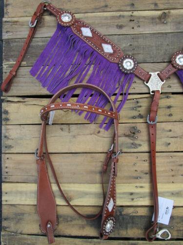 WESTERN HEADSTALL BREASTCOLLAR SET PURPLE FRINGE TRAIL HORSE LEATHER BRIDLE SET