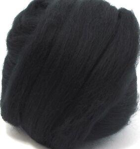 1 ounce 23mic Black Merino Wool Top Roving Fiber Spinning, Felting