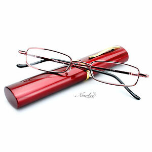 Red-Readers-Compact-Tube-Reading-Glasses-Aluminium-Hard-Case-034-Ruby-Red-034