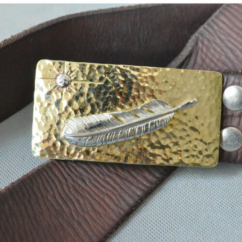 Details about  /Handicrafts Manual tapping Copper Feather Mens Belt Buckle For Width 38mm Belt
