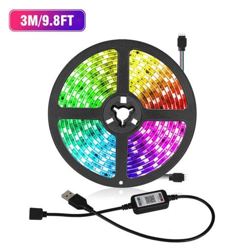 Flexible Strip Light USB 5050 RGB LED Bluetooth Remote Fairy Lights Room TV Bar