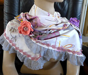 Handmade-Fabric-Crochet-And-Lace-Collar-Scarf-Wrap-Multi-Beautifull-Colors-Gift