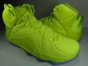 buy popular 4adf6 98c3f Image is loading Nike-Lebron-XII-12-EXT-Tennis-Ball-Volt-