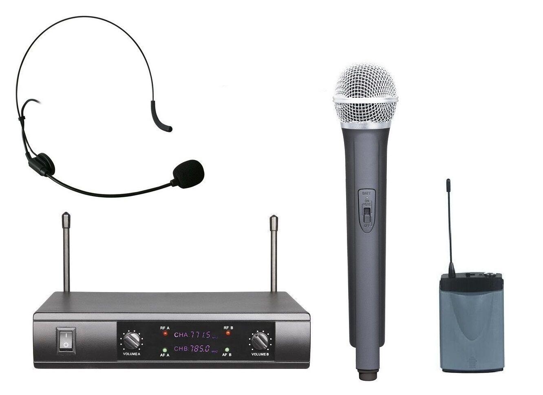 UHF Wireless Microphone System Handheld Headset Headworn Microphone mic System