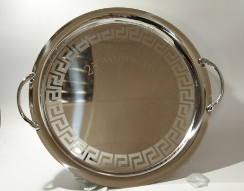 Italian 25th Anniversary Tray Stainless steel W:35cm with handles