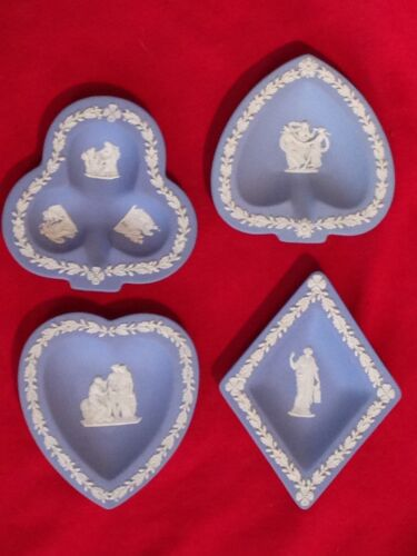 ❤LOVELY WEDGWOOD PALE BLUE JASPERWARE BRIDGE CARD SET TRINKET PLATES PIN DISH❤