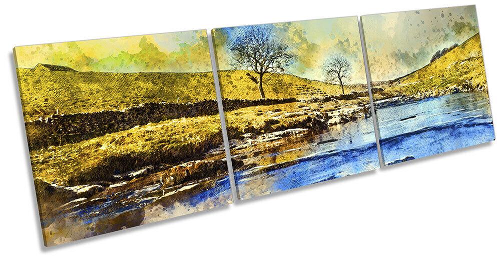 Yorkshire Dales Landscape Bild CANVAS Wand Kunst Triple Drucken Multi-Colourot