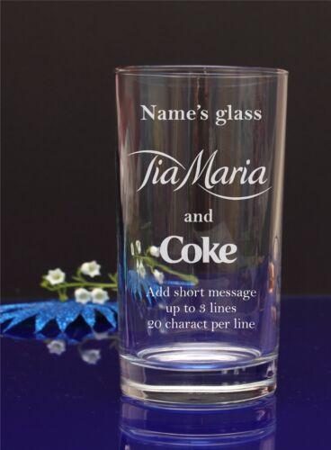 Personalised Tia Maria /& Coke HI-BALL,Mixer,Tumbler glass//Add Your Message 102