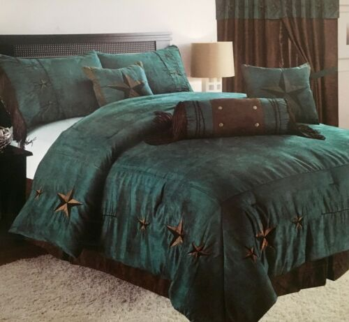 7 Pc Set Rustic Turquoise Embroidery Texas Star Western Luxury Comforter Suede