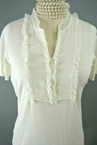 BCBG MAXAZRIA Silk/Cotton Blouse M Ivory Ruffle Sh