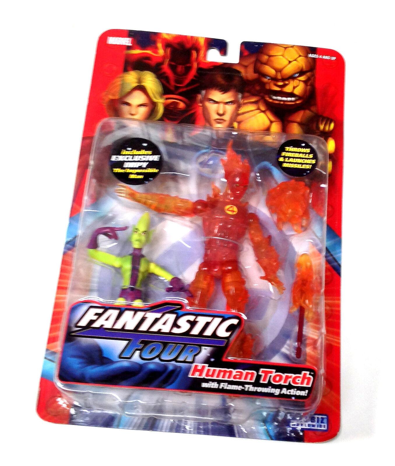 Marvel Legends Fantastic Four 6  HUMAN TORCH & IMPOSSIBLE MAN figure set RARE