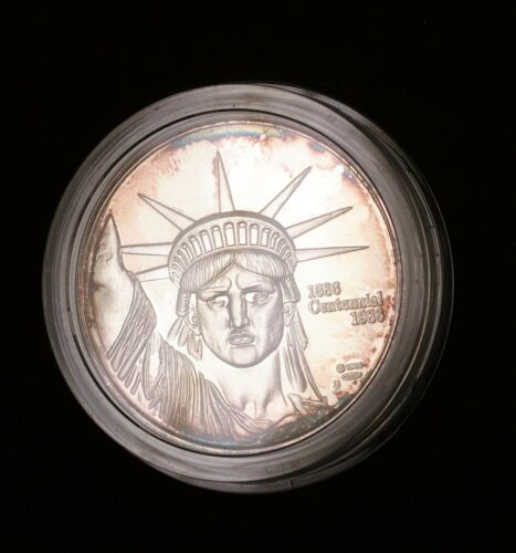 1986 Statue of Liberty 1 Ozt Gem Proof Round Edge Toning Very Scarce MTB Mint