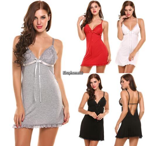 Women Sleeveless Nightgown Lace Trim Full Slip Chemise Lounge Dress EHE8 01