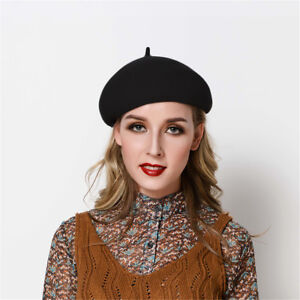 Womens Solid Color 100% Wool Beret Fascinator French Painter Ascot ... 3955b9cdefd