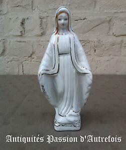 B20150963 - Objets Religieux : Vierge De 20 Cm En Porcelaine 1950-70 Brillant En Couleur