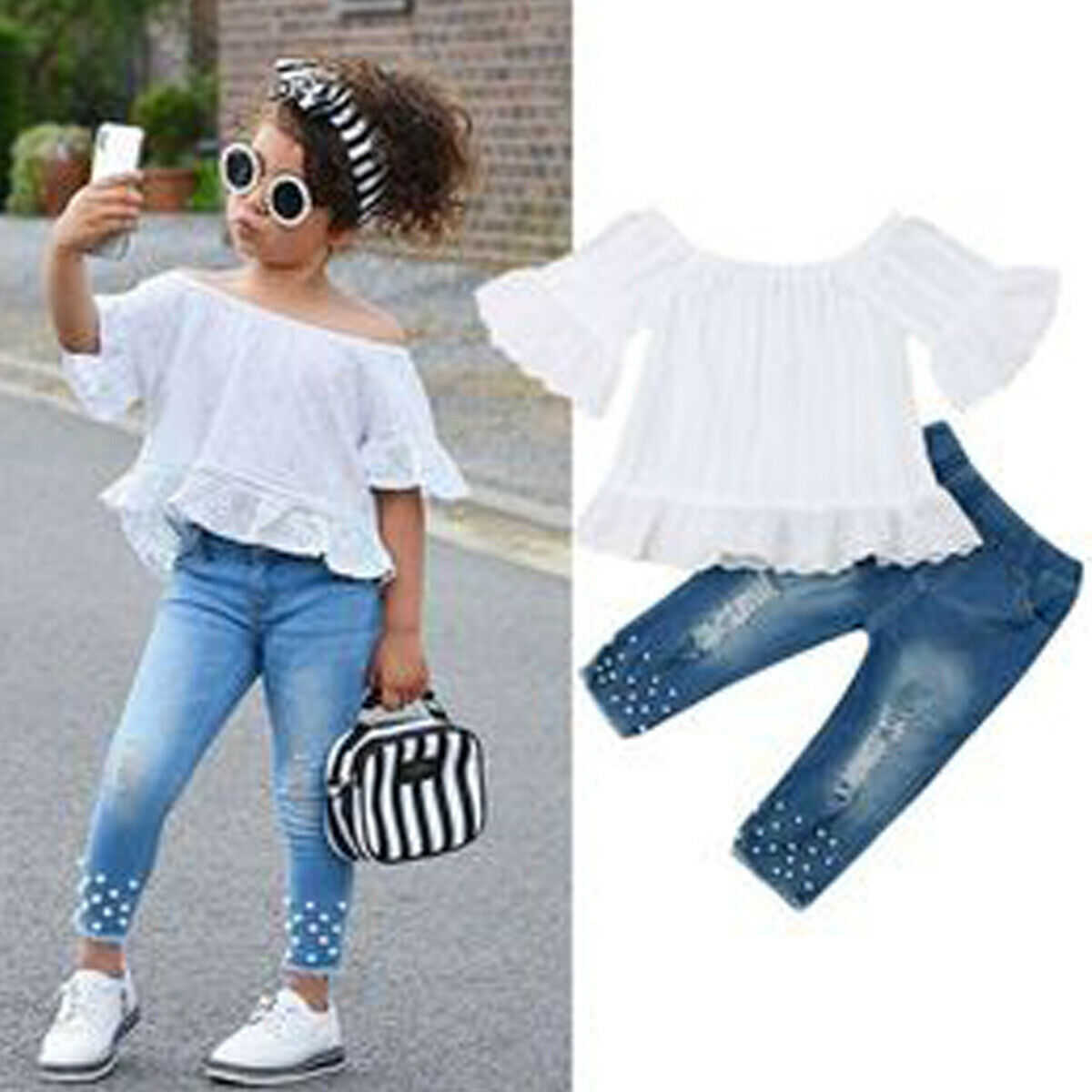 USA Toddler Kids Baby Girls Tops T-shirt Denim Long Pants Jeans Outfits Clothes