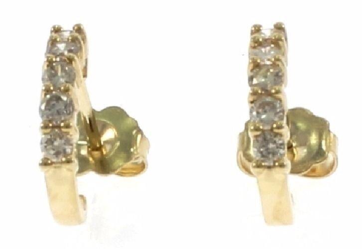 Genuine Diamond Ladies Earrings in 14 Kt Yellow gold