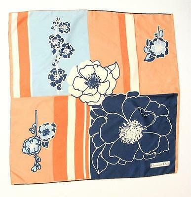 Christian Dior Peach & Navy Floral Print Silk Scarf