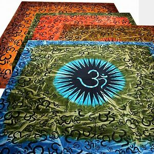 Tagesdecke-Bettueberwurf-Om-Harmonie-Batik-Indien-Buddha-Wandbehang-Yoga-Tie-Dye