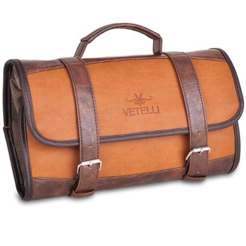 7d2edb7d1b52 Dopp Kit Leather Men Vintage Hanging Travel Gym Bag Brown Toiletry Shaving  Case