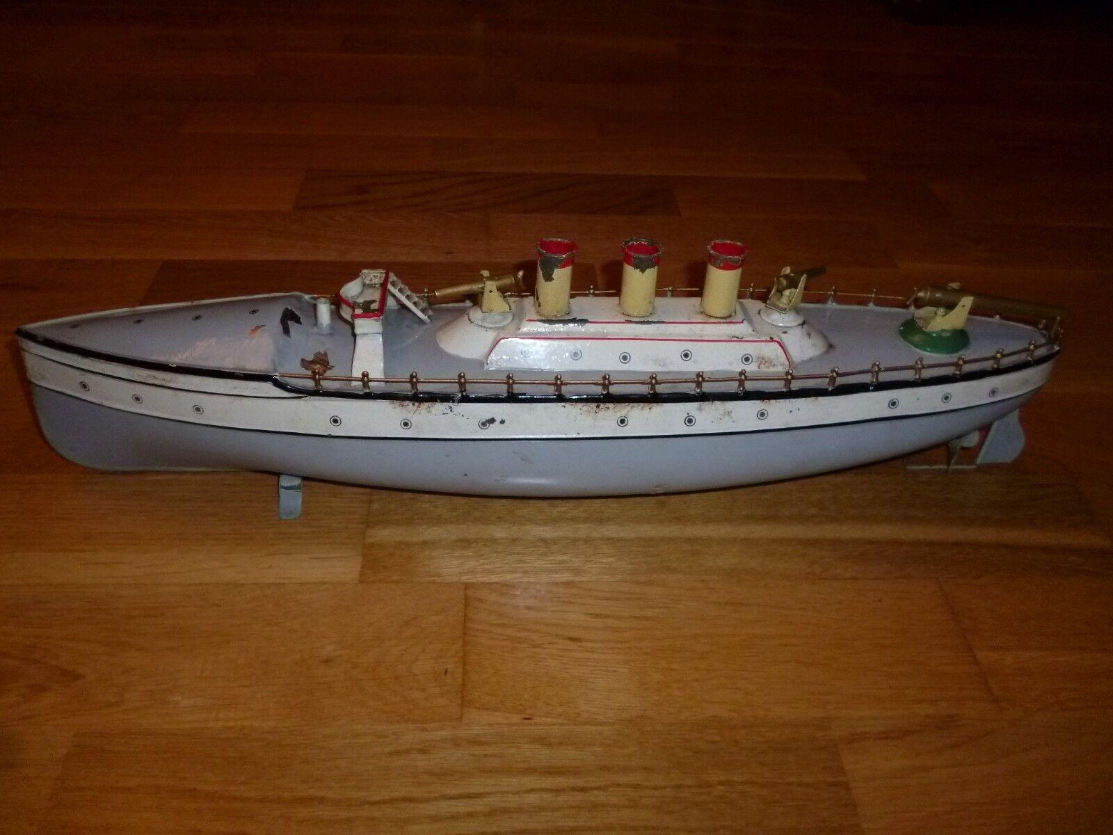 CARETTE (Germany) GUNBOAT CRUISER BATTLESHIP TOY SHIP BOAT BATEAU BING ARNOLD