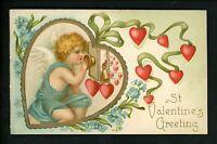 Valentine's Day postcard Angel Blue Dress Hearts Phone ? Embossed vintage