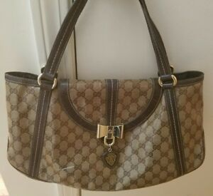 83cde157deb Image is loading GUCCI-Crystal-Coated-amp-Leather-Monogram-Duchessa-Bow-