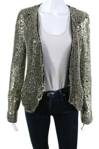 Parker-Womens-Beaded-Silk-Jacket-Black-Silver-Size-Medium