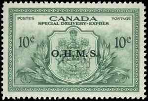 Canada-EO1-mint-VF-OG-NH-1959-Special-Delivery-10c-green-OHMS-Overprint