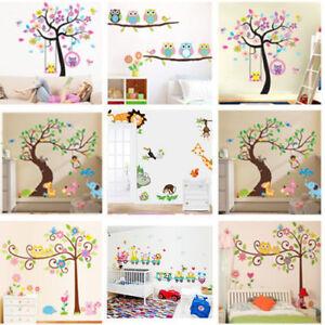 Nursery-Removable-Animal-Tree-Wall-Sticker-For-Kids-Room-Home-Decor-Vinyl-Art-SU