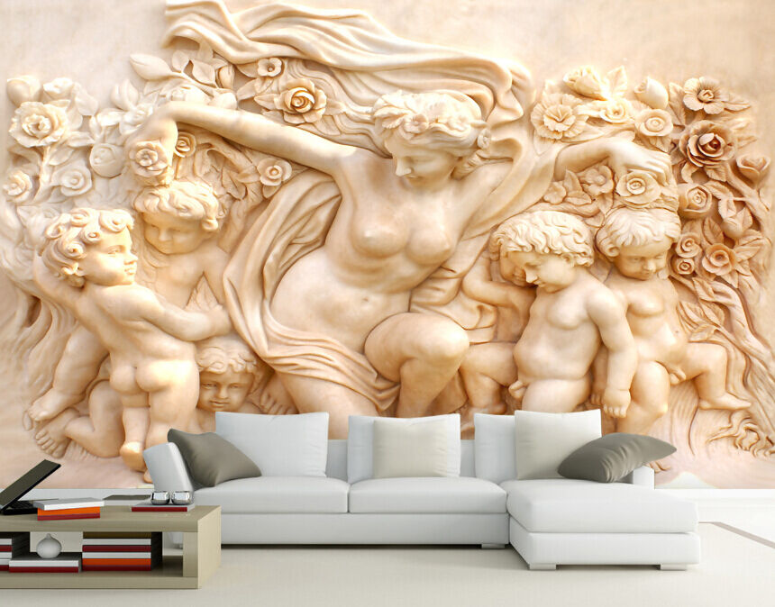 3D Carving Mother Baby Paper Wall Print Decal Wall Wall Murals AJ WALLPAPER GB