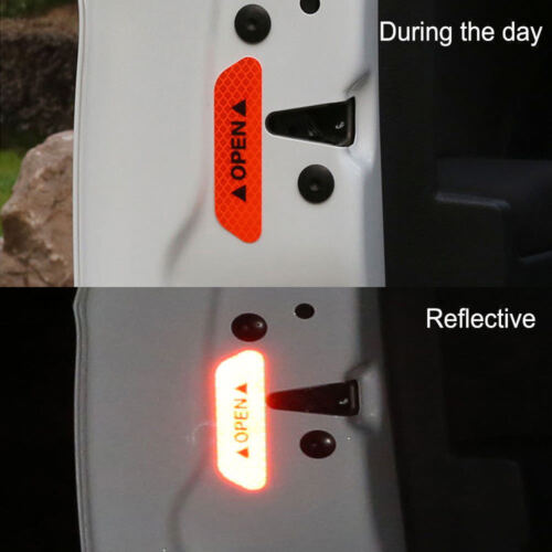 Red 4PCS Super Car Door Open Sticker Reflective Tape Safety Warning Decal !!