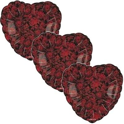 3 pc Red Rose Message I Love You Heart Happy Valentines Day Balloon Bouquet Kiss