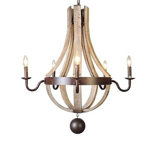 Image Is Loading 30 034 Wine Barrel Chandelier Wooden Wood Waxed