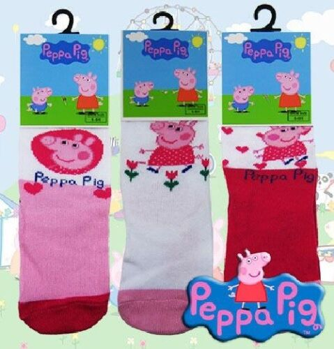 Peppa Pig x 3 Officiel Filles Rose Chaussettes Blanches Taille 0//2 3//5 6//8 Stocking Filler
