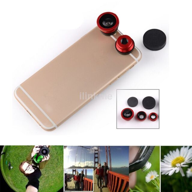 3in1 Fish Eye+ Wide Angle + Macro Camera Clip-on Lens Kits for universal phone k