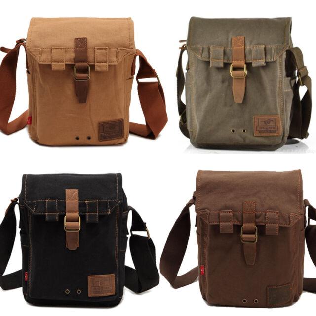 Vintage Mens Canvas Military Shoulder Bag School Messenger Hiking Bag  satchel