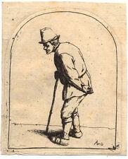 Adriaen van Ostade Bauer mit gekrümmtem Rücken 1675 Radierung Etchning Peasant