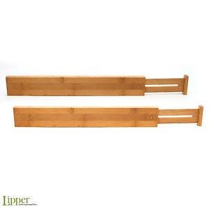 Image Is Loading Adjule Drawer Dividers Set 2 Bamboo Organizer Kitchen