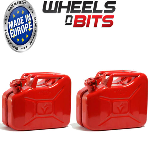 2 x NEW HIGH QUALITY METAL POWER COATED INSIDE AN OUT RED JERRY CAN 10L LITRE